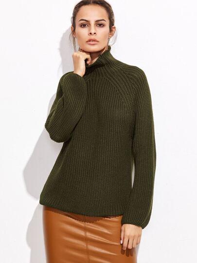 Army Green Turtleneck Loose sweater