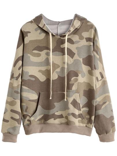 Camo Print Drop Shoulder Drawstring Hooded Pocket Sweatshirt