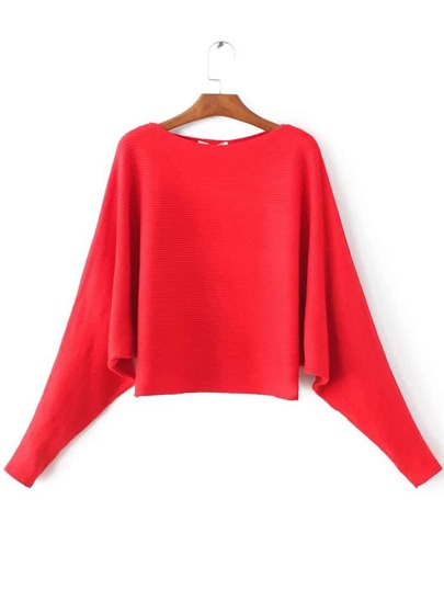 Red Boat Neck Batwing Sleeve Knitwear