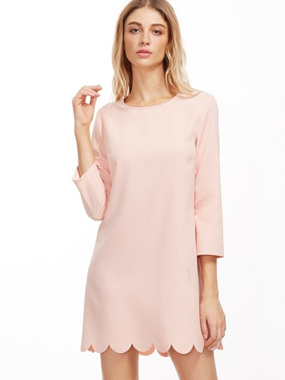 Pink Scallop Hem Tunic Dress