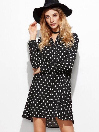 Black Polka Dot Single Breasted Shirt Dress