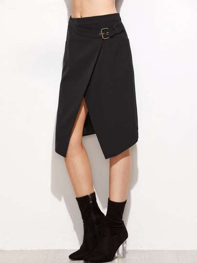Overlap Front Buckle Belted Skirt