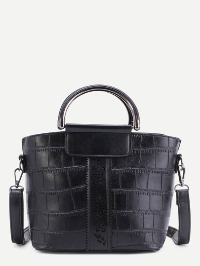 Black Faux Leather Embossed PU Handbag With Strap