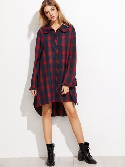 Red And Navy Plaid Frill Trim High Low Shirt Dress