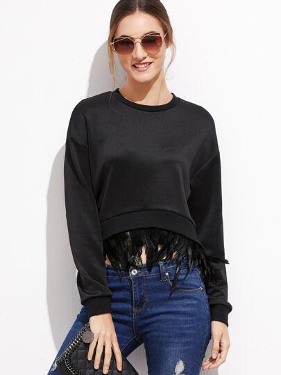 Black Feather Trim Crop sweatshirt