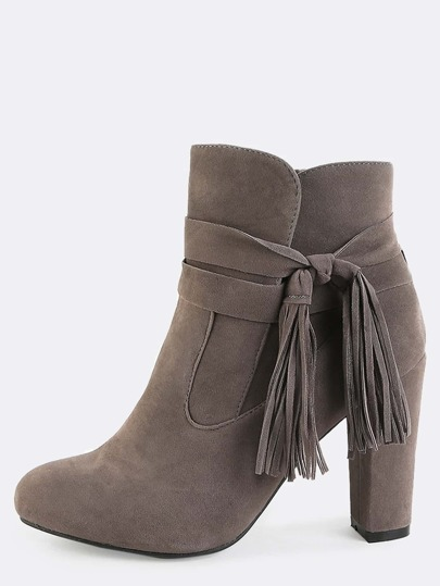 Chunky Heel Wrap Ankle Booties TAUPE