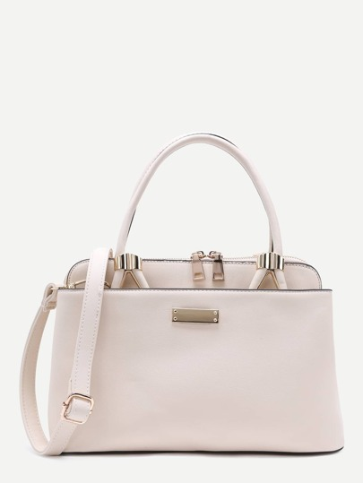 Beige PU Zip Closure Handbag With Strap