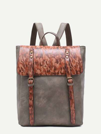 Green PU Double Buckled Strap Flap Backpack