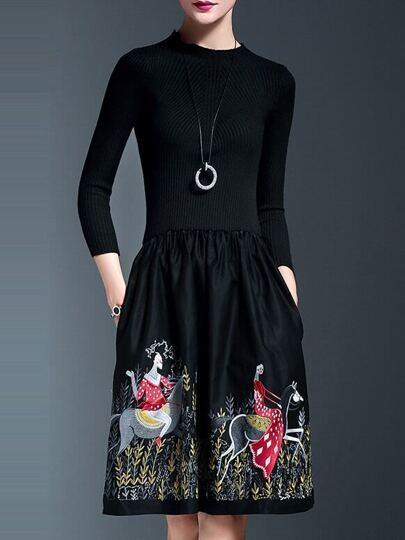 Cambo Kleid mit Taschen Stickereien-schwarz