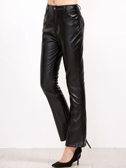 Black PU Pants With Pockets