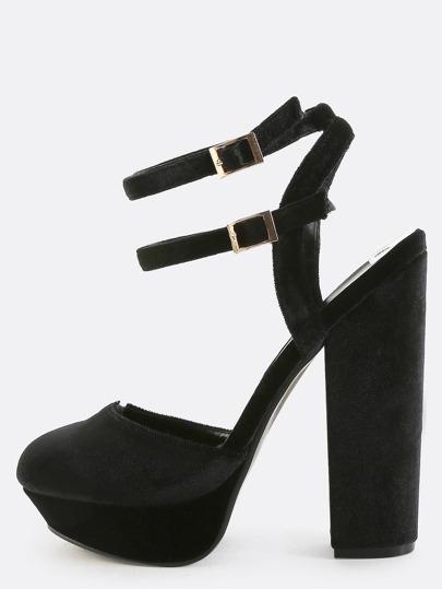 Triple Strap Velvet Round Toe Heels BLACK