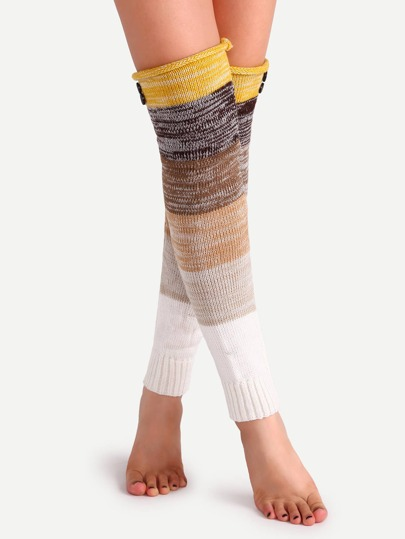 Brown Tone Patchwork Button Knit Leg Warmers