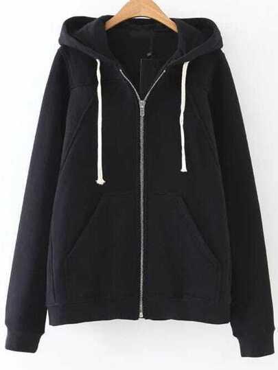 Black Zipper Up Hooded Sweatshirt With Pocket