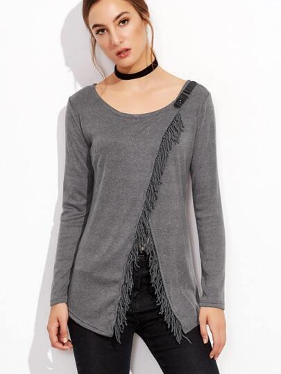 Grey Fringe Hem Asymmetric Wrap T-shirt
