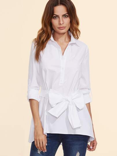White Roll Sleeve Self Belt Blouse