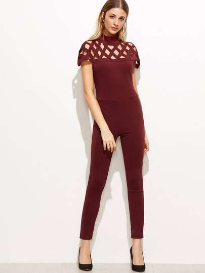 Burgundy Laser Cut Out Zipper Back Jumpsuit