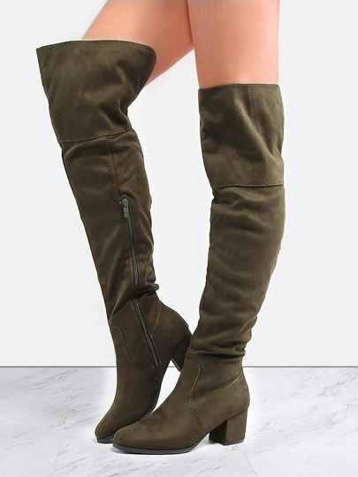 Thigh High Block Heel Boots OLIVE
