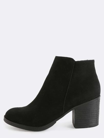 Low Cut Suede Block Heel Boots BLACK