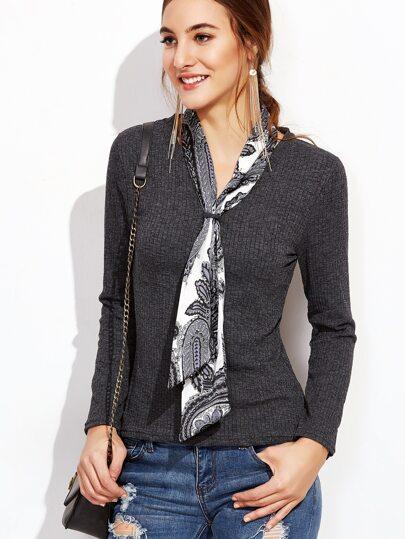 Jersey cuello con cordón de canalé - gris oscuro