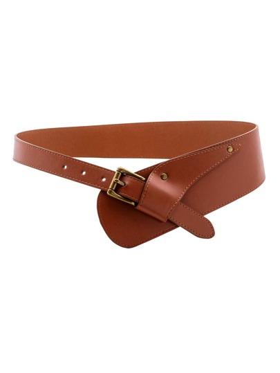 Brown Faux Leather Buckled Stylish Wrap Belt