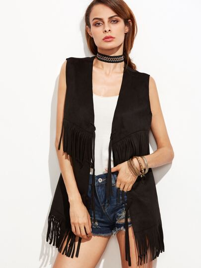 Black Faux Suede Fringe Vest