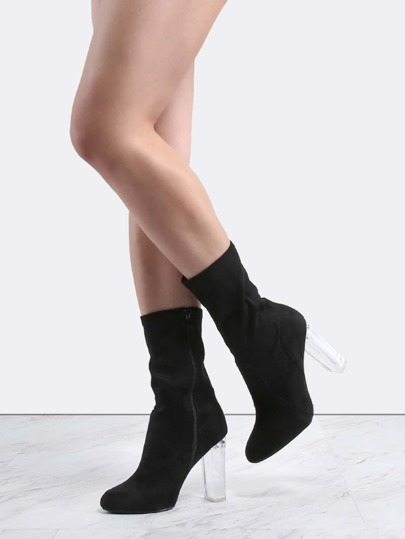 Suede High Shaft Perspex Heel Boots BLACK