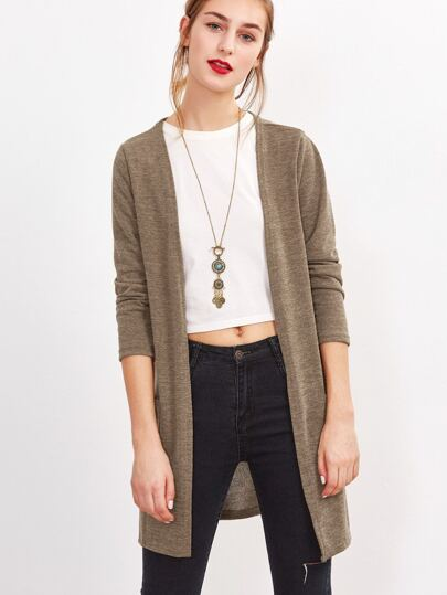 Khaki Long Sleeve Pockets Cardigan