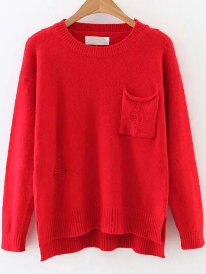 Red Ripped Dip Hem Sweater With Pocket