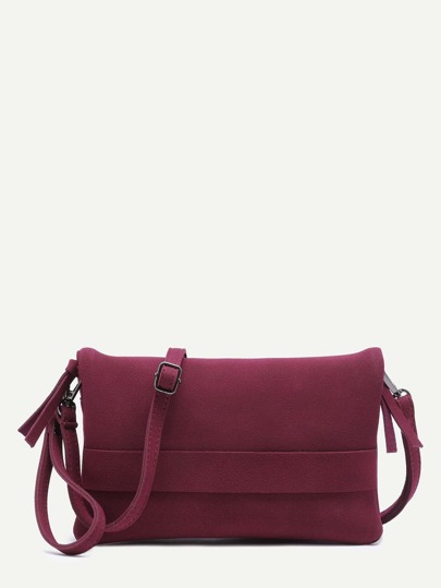 Burgundy Nubuck Leather Flodover Clutch Bag With Strap