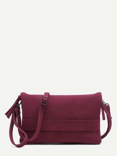 Бордовая нубуковая сумка на ремне