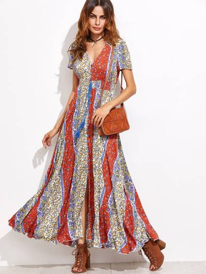 Multicolor Floral Fringe Detail Split Front Dress