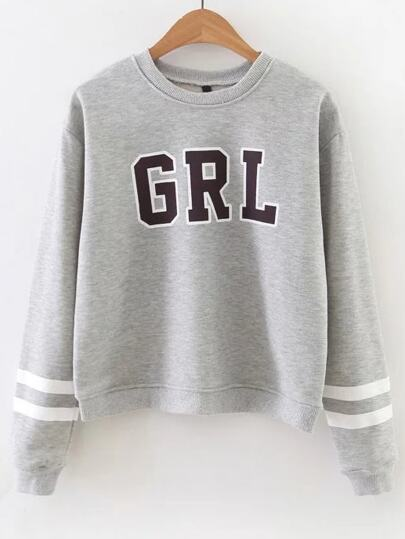Letter Print Striped Sleeve Sweatshirt