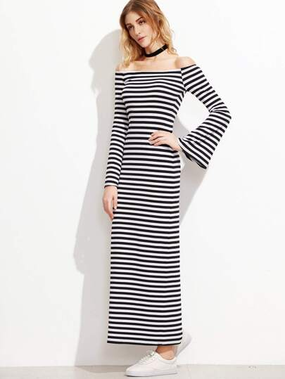 Black And White Striped Off The Shoulder Bell Sleeve Dress