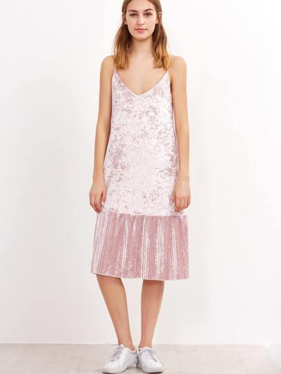Pink Spaghetti Strap Pleated Hem Dress