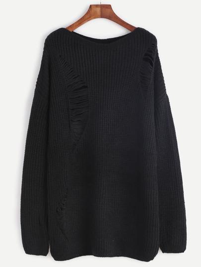 Black Drop Shoulder Hollow Out Back Sweater