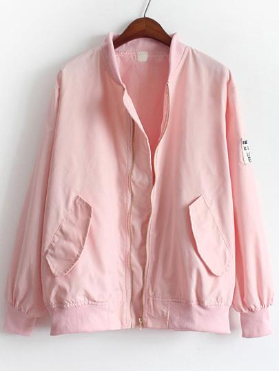 Chaqueta cuello mao bolsillos suelta -rosa