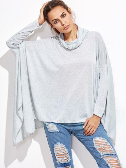 Camiseta asimétrica con cuello desbocado - gris claro