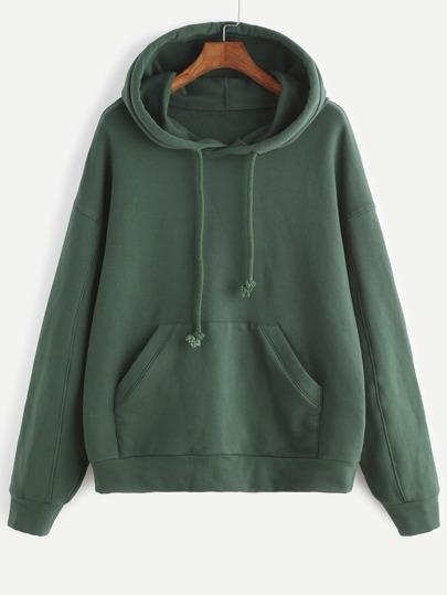 Green Drop Shoulder Hoodie With Pocket