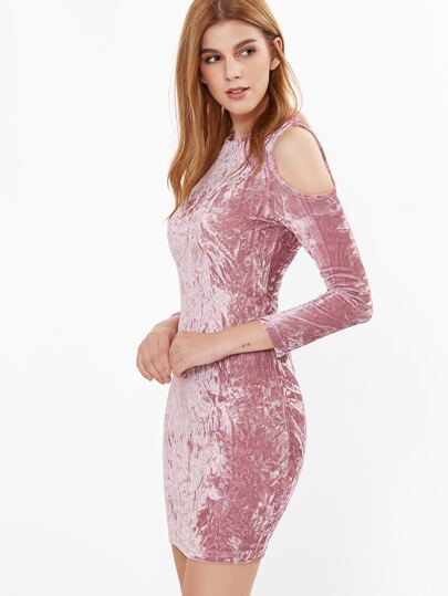 Pink Cold Shoulder Crushed Velvet Bodycon Dress