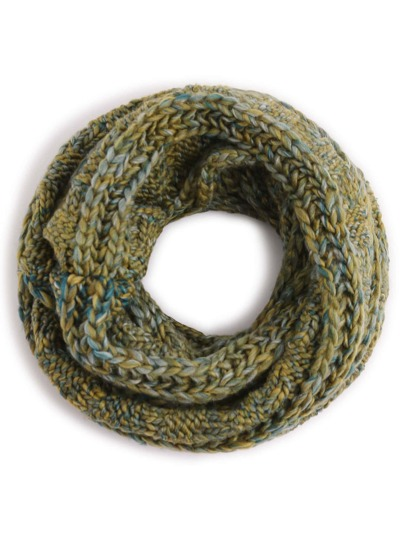 Green Ribbed Marled Chunky Knit Infinity Scarf