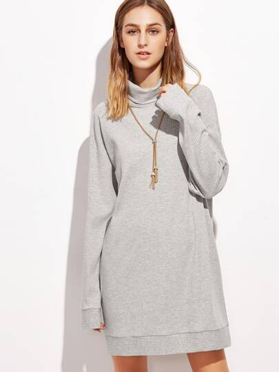 Heather Grey Turtleneck Drop Shoulder Ribbed Sweatshirt Dress