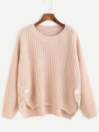 Apricot High Low Chunky Knit Sweater
