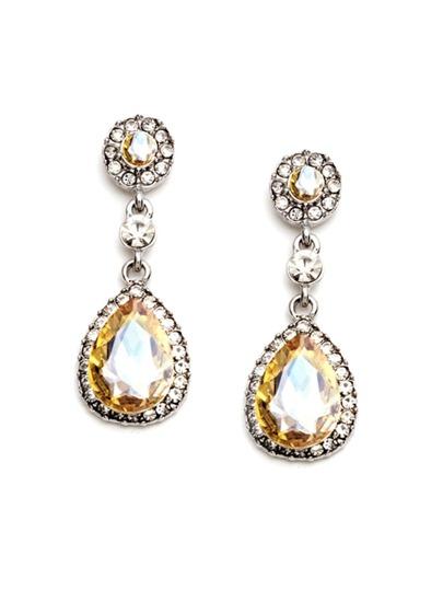 Champagne Rhinestone Encrusted Drop Earrings