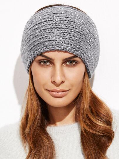 Grey Rhinestone Studded Textured Knit Headband