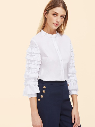 White Band Collar Layered Ruffle Sleeve Blouse