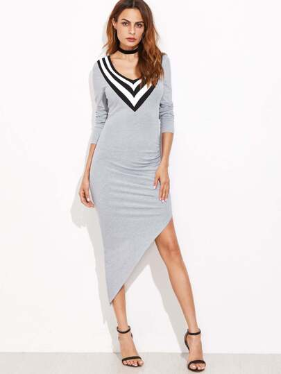Heather Grey Striped V Neck Asymmetric Dress