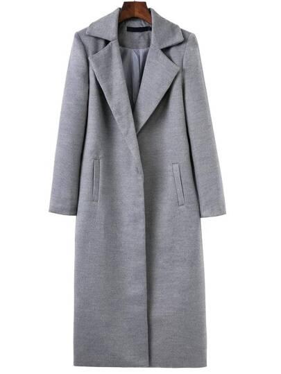 Серое длинное пальто с карманами