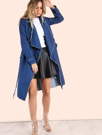 Distressed Waterfall Denim Coat DENIM