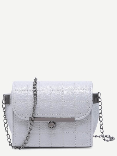 Grey Quilted PU Flap Crossbody Chain Bag