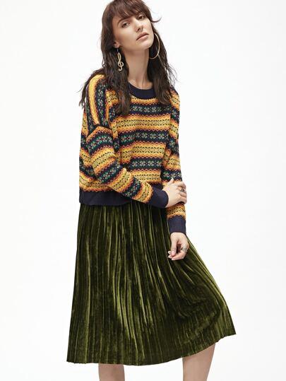 Jersey manga dolman con estampado tribual - multicolor